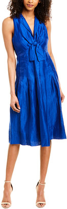 Donna Karan Linen-Blend Midi Dress