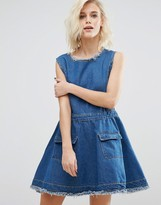 Boohoo Denim Skater Dress with Frayed Hem