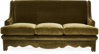 Bunny Williams Home Nailhead Sofa - Olive Velvet upholstery, olive; nailheads, bronze