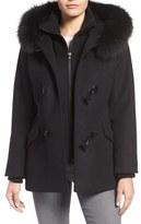George Simonton Wool Blend Duffle Coat with Genuine Fox Fur Trim