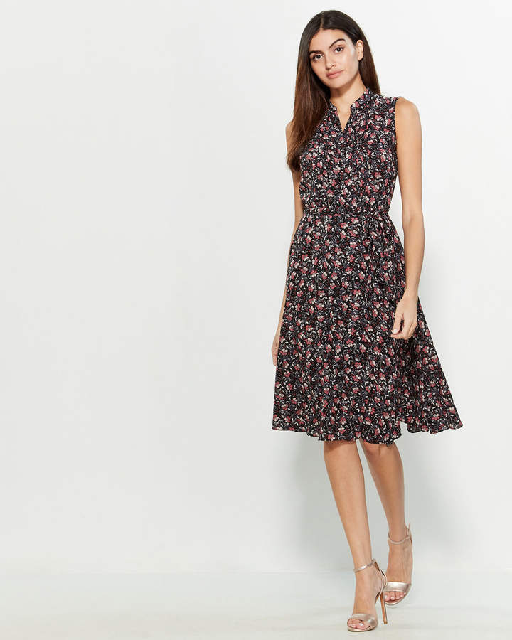 Nanette Lepore Nanette Filigree Print Belted Shirtdress