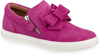 Gentle Souls Lowe Ribbon-Front Suede Low-Top Sneakers