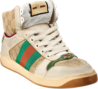Gucci Screener Gg Supreme Canvas & Suede High-Top Sneaker