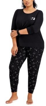Jenni Plus Size Srunchie & Pajamas 3pc Set, Created for Macy's