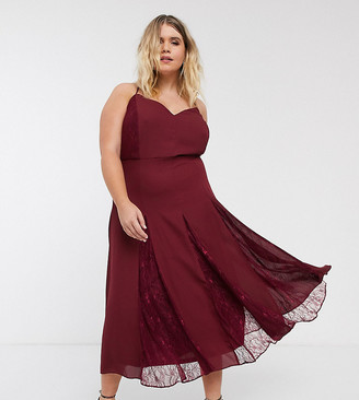 Asos DESIGN Curve cami midi dress with lace godets-Red