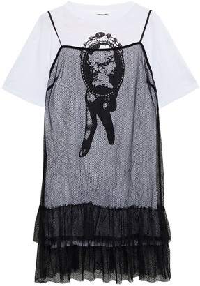 McQ Layered Tiered Lace And Printed Cotton-jersey Mini Dress