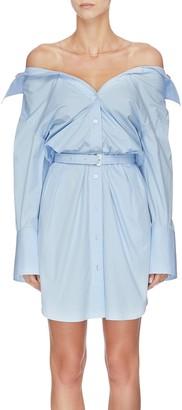 Alexander Wang x Lane Crawford belted off-shoulder shirt dress