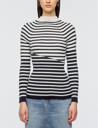 MAISON KITSUNÉ Striped Ribbed Pullover