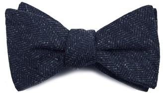 Tie Bar Threaded Zig-Zag Navy Bow Tie