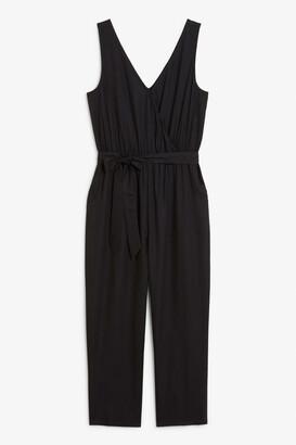Monki Sleeveless tie-waist jumpsuit