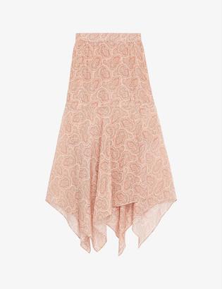 The Kooples Paisley-jacquard silk-crepe wrap skirt
