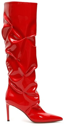 L'Autre Chose Wrinkled Effect Patent Leather Boots