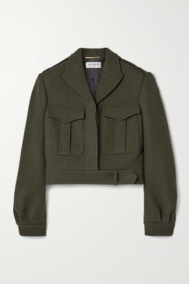 Saint Laurent Cropped Wool-gabardine Jacket - Army green