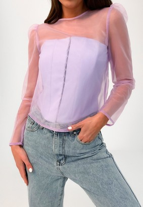 Missguided Petite Lilac Organza Puff Sleeve Top