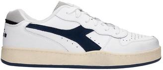 Diadora Mi Basket Low Sneakers In White Blue Leather