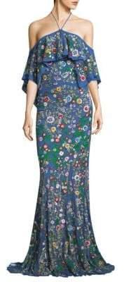Alice + Olivia Annalea Embellished Halter Gown
