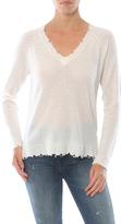 Minnie Rose Distressed Cashmere V Neck Sweater
