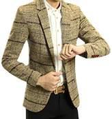 Cozy Age Men's Casual Slim Fit Plaid One-button Business Suit(L, )
