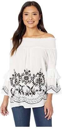Scully Ireland Flirty Off the Shoulder Blouse (White) Women's Blouse