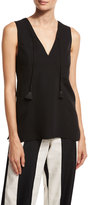 Derek Lam Tassel V-Neck Sleeveless Blouse, Black