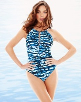 Soma Intimates Blurred Lines Kat One Piece Swimsuit Blue