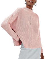 Topshop PETITE Travelling Ribbed Mock Neck Sweater