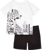 River Island Mini boys white t-shirt and shorts outfit