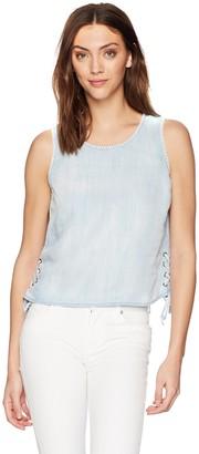 Michael Stars Women's Linen Denim Tencel Tank with Side lace up