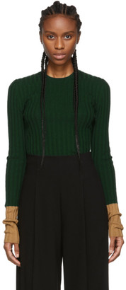J.W.Anderson Green Ribbed Long Sleeve Sweater
