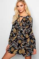 boohoo Ali Artisan Floral Plunge A-Line Swing Dress black