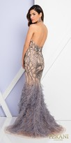 Terani Couture Plunging V-neck Low Cut Back Feather Evening Dress
