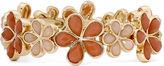 Liz Claiborne Peach Stone Gold-Tone Stretch Blossom Bracelet
