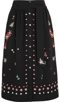 Temperley London Juniper Embroidered Crepe Skirt - Black