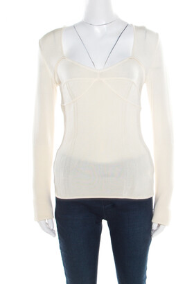 Just Cavalli Cream Rib Knit Long Sleeve Fitted Top M