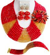 aczuv Nigeiran Wedding African Beads Jewelry Set Crystal Red and Gold Champagne Bridesmaid Necklace