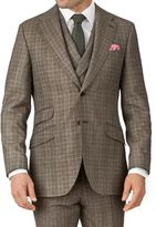 Tan Slim Fit British Check Flannel Luxury Suit Wool Jacket Size 36 By Charles Tyrwhitt