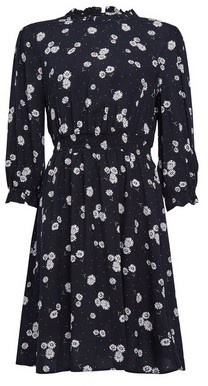 Dorothy Perkins Womens Black Daisy Print High Neck Dress, Black