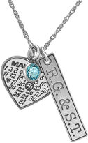 JCPenney FINE JEWELRY Personalized Couples Monogram Cubic Zirconia Birthstone Heart Pendant Necklace