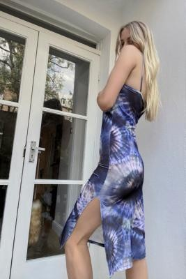Urban Renewal Vintage Urban Outfitters Archive Dark Blue Tie-Dye Ribbed Dress - Blue XS at Urban Outfitters