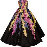 Oscar de la Renta Strapless Tea Length Gown with Embellishment