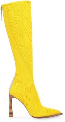 Fendi FFrame jacquard pointed toe boots