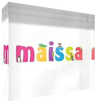 clear Little Helper Souvenir Decorative Polished Acrylic Diamond Style Example Girl/The Name of Colourful Maissa 14.8 x 21 x 2 cm Large