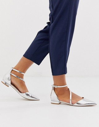 Asos DESIGN Lifetime pointed ballet flats in silver