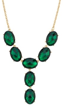 2028 Gold-Tone Oval Faceted Y-Neck Drop Necklace