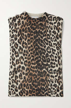 Ganni Crystal-embellished Leopard-print Wool And Yak-blend Top - Leopard print