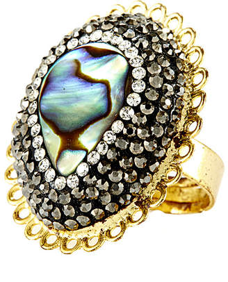 Eye Candy Los Angeles Eye Candy La Vine Sparkling Green Abalone Shell With Hematite A