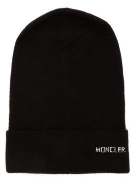 Moncler Logo Cashmere Beanie Hat - Black