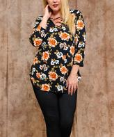 Celeste Black Floral Crisscross Tunic - Plus