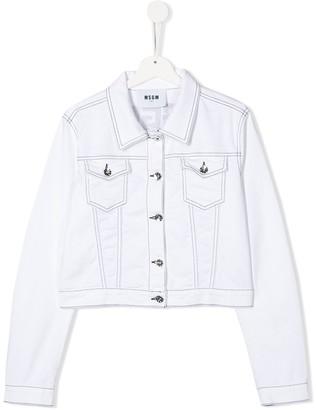 Msgm Kids Rear Logo Denim Jacket