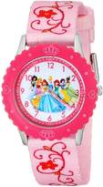 Disney Kids' W001798 Princess Stainless Steel Time Teacher Watch, Printed Pink Band